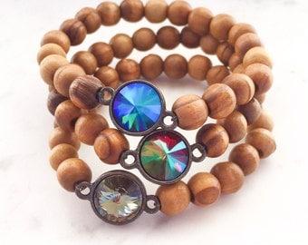 Swarovski crystal wood bead bracelet, boho beaded bracelet, bohemian crystal stacking bracelet, ibiza style bracelet, yoga chunky bracelet