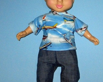 """Wonder Crew Doll Clothes Airplane Shirt and Pant Set  14""""  or 15"""" Doll   Boy Doll Clothes"""