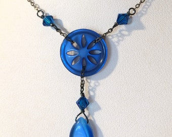 Blue Button Y Necklace: Vintage Bright Blue with Swarovski Crystals on Gunmetal Chain