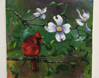 Dogwood and male cardinal - Print