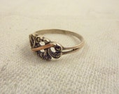 Antique German Art Deco Silver & Marcasite with Gold Filled Accent Ring Size 8 1/4