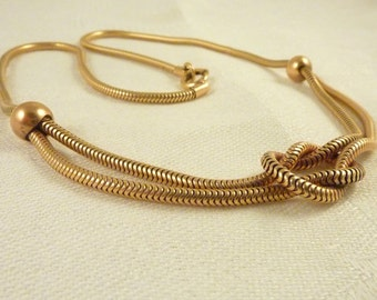 Vintage 12K Gold Filled Snake Chain Necklace with Infinity Knot
