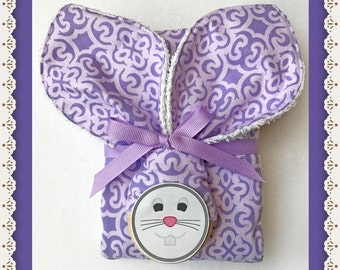 Bunny Ears Teething Ring and Burp Cloth Baby Shower Set in Purple Lavender Violet and Lilac
