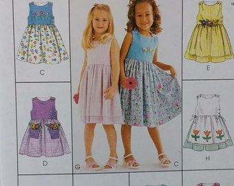 Girls Sleeveless Dress Summer Sundress Pattern Mccalls 2150 Girls size 2 3 4