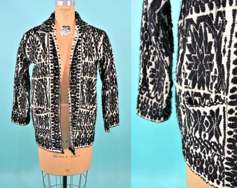 1960s cardigan   black & white embroidered cardigan   60s vintage filigree open top M
