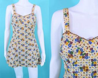 "1930s floral swimsuit   floral print fabric bathing suit AS IS   vintage 30s swimsuit   W 25"""