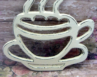 Cast Iron Coffee Cup Trivet Off White Shabby Chic Tea Cup Kitchen Hot Plate Home Decor