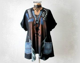 Plus Size Black Top Grunge Clothing Altered T-Shirt Denim Pockets Lace Up Collar Short Sleeve Tunic Rocker Chic Shirt Art Clothes 2X 'OLIVIA