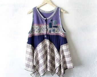 Country Tunic Purple Layer Shirt Women's Lagenlook Upcycled Boho Denim Patchwork Plaid Flowy Tunic Retro Clothing Jumper Style L XL 'EVELYN'