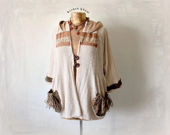 Bohemian Sweater Beige Cardigan Women's Hooded Top Woodland Clothing Mori Girl Upcycle Art Clothes Plus Size Hoodie Fringe Top 1X 'GRETCHEN'