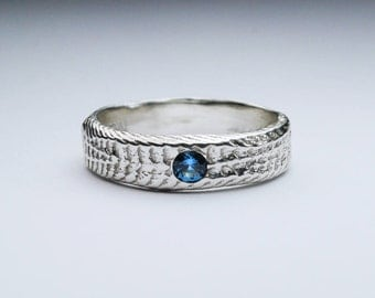 Snakeskin Ring with Natural London Blue Topaz