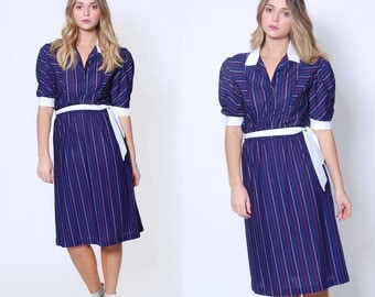 Vintage 80s STRIPED Dress NAUTICAL Secretary Dress BELTED Day Dress Pinstripe Dress