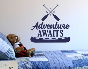 Adventure awaits wall decal, hiking camping canoe, north south east west, adventure wall decal, forest woodland, boy bedroom, travel decor