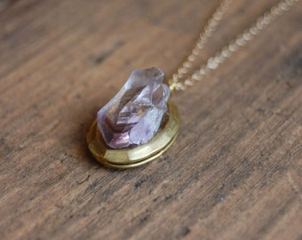 Secret Keeper Locket Necklace. Amethyst Raw Nugget Stone Vintage Gold Brass Locket Necklace. Crystal Locket Necklace.