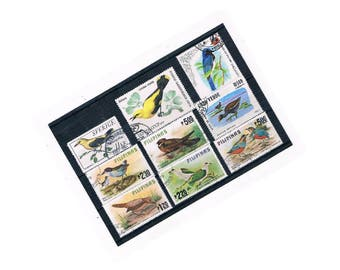 Beautiful Bird Postage Stamp Selection 1 | garden birds, vintage used stamp stock card | card craft supply, focal point stamp collection