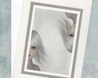 Surreal Greeting Card & Envelope - Twin Art - All Occasion Card - Neither Here Nor There