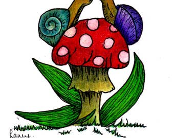 Snails on a Toadstool Greeting Card, Original Doodle Illustration Printed Card