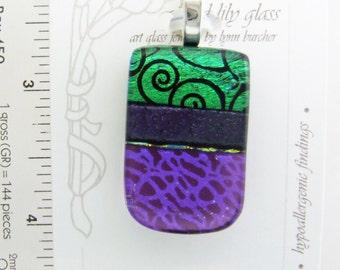 Purple Spiral Small Pendant, Handmade Fused Glass Jewelry