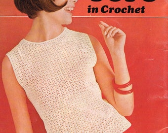 Downloadable Vintage Crochet Pattern - Sleeveless Blouse with Scooped Neck - PDF Pattern - retro 60s top - 1960s