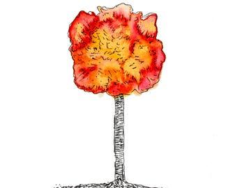 Tree Of Life 3 Watercolor Art Print On Cardstock