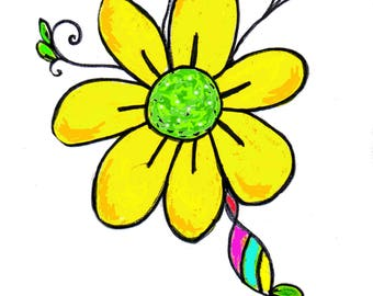 Flower Power Watercolor Pen And Ink Art Print