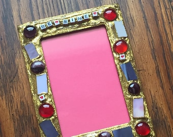 Be Mine Mosaic Picture Frame (holds a 4 x 6 photograph)