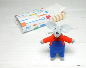 Stuffed animals garden tools felt stuffed mice in matchbox miniature kids gift blue orange boy nursery decor needle felted art doll waldorf