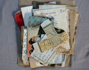 vintage paper ephemera pack - grungy scraps for scrapbooking, collage or mixed media art supply
