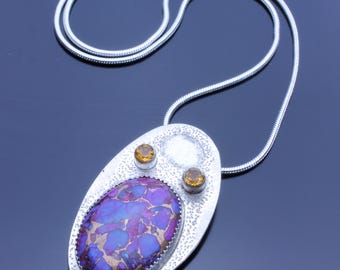 Purple Turquoise with Faceted Citrine and textured Sterling Silver, Unique Silver Necklace, Professional Silversmithing Handmade Necklace