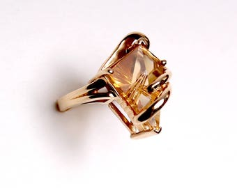 Vintage 14k gold 15 CT Citrine cocktail large statement ring Fancy Kite Gemstone ooak hand made custom