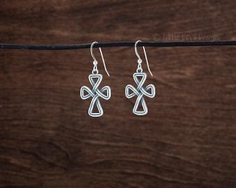 Celtic Cross Infinity Knot Earrings - 3D Double Sided -  STERLING SILVER