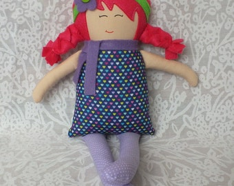 Handmade doll, rag doll, cloth doll, soft doll, baby doll, doll, toys, gift for a girl, hearts, valentines day, pink hair, purple, unique