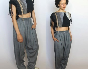 dance me to the end of love -- vintage handwoven moroccan dropped-crotch pants S/M