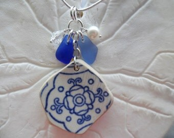 Pendant Sea Glass Necklace Blue Pottery English Beach Jewelry Sterling