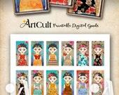 Printable Download FRIDA KAHLO inspired Images Digital Collage Sheet for Domino Pendants, magnets bezel trays scrapbooking paper by ArtCult