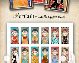 Printable Download FRIDA KAHLO inspired Images Digital Collage Sheet for Domino Pendants, magnets bezel trays scrapbooking paper by ArtCult