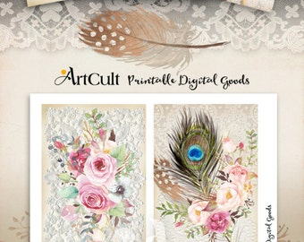 Printable BOHO CHIC No4 greeting cards downloadable Digital Collage Sheet shabby flowers feathers dream catcher scrapbooking paper ArtCult