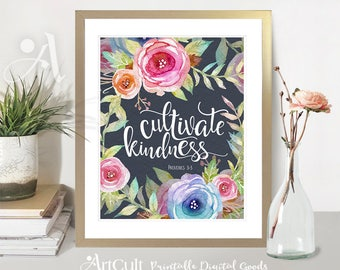 "Printable wall art bible verse ""CULTIVATE KINDNESS"" Proverbs 3:3. Digital download prints 8""x10"" and 11""x14"" artworks for home decor ArtCult"