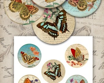 Digital Collage Sheet SHABBY BUTTERFLIES 2.5 inch Printable circle images for Pocket Mirrors, Magnets, Paper Weights ArtCult designs