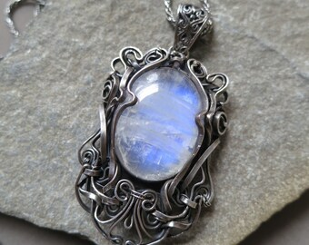 Rainbow Moonstone and Sterling Silver Victorian Pendant Wire Wrapped - dark silver