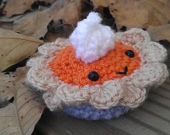 Ready to ship! - Pumpkin Pie Satchet - pumpkin spice scent - crochet pie - scented sachet - pumpkin scent - Thanksgiving gift - hostess gift