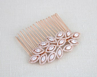 Rose Gold hair comb, Rose Gold Wedding headpiece, Crystal Leaf hair comb, Bridal hair accessories, Rose Gold hair clip, hair piece  SCARLETT
