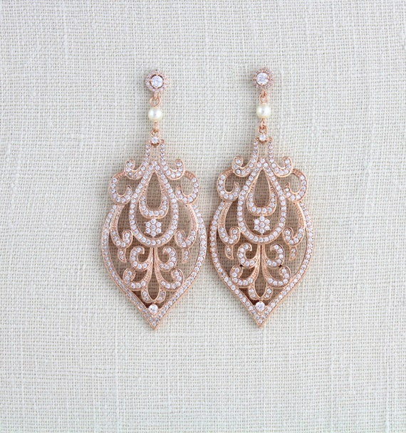 rose gold bridal earrings art deco wedding earrings bridal. Black Bedroom Furniture Sets. Home Design Ideas