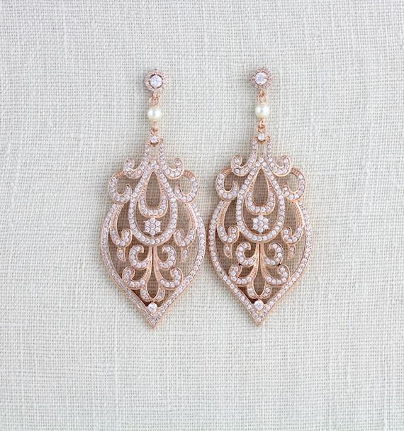 rose gold bridal earrings art deco wedding earrings bridal. Black Bedroom Furniture Sets. Home Design Ideas