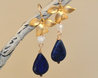 Lapis Lazuli Teardrop Earrings. ARABIAN NIGHTS. Navy Blue Lazurite. Gold Gemstone Dangles. Flower Earrings.