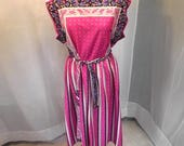 Vintage 70s Handkerchief Style Jersey Dress Sz M