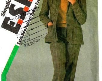 Blazer Jacket and Pants Simplicity 6637 Sewing Pattern 1980s Size 10 12 14 Bust 32.5 34 36 New Uncut Pant Suit