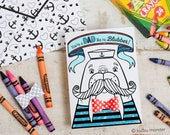 INSTANT DOWNLOAD Father's Day Card Walrus Funny Coloring Page Card with 3D bowtie DIY kids classroom Craft Fathers day activity printable
