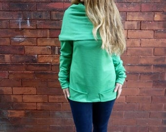 Eco Teal Cowl Neck Long Sleeve Hooded Sweater Shirt|Shirt with Pockets|Cowl Neck Shirt|Long Sleeve ShirtLong Sleeve Sweater|Green Shirt|