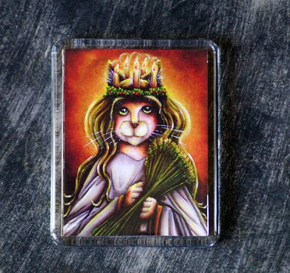 Saint Lucy Cat Magnet Christmas Holiday Art Fridge Magnet